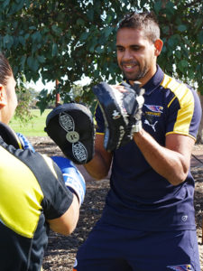 West Coast Eagles Lewis Jetta Boxing at Wirrpanda Foundation Fit 4 Work