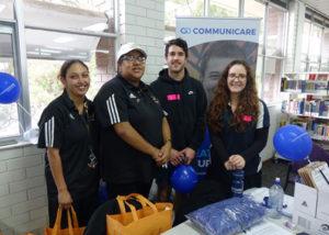 2 wirrpanda staff members at careers expo stall