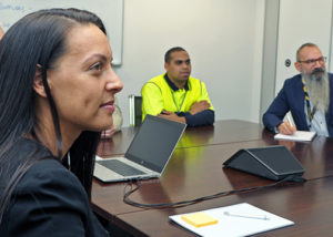 Wirra hub clients in an office meeting