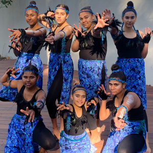 group of teenage girls in aboriginal cultural dress
